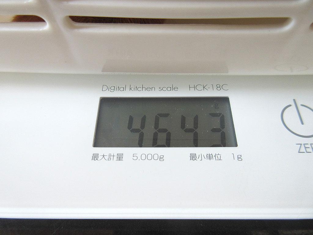 アビのすけの体重は4,643g。