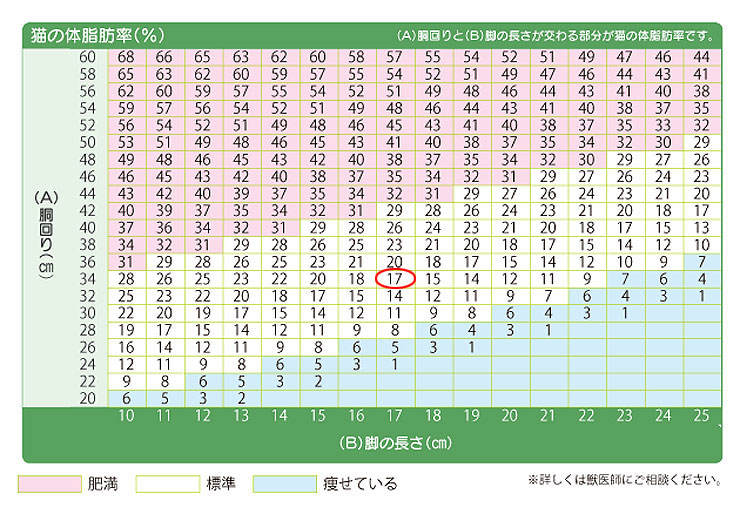 アビのすけの体脂肪率は17%。