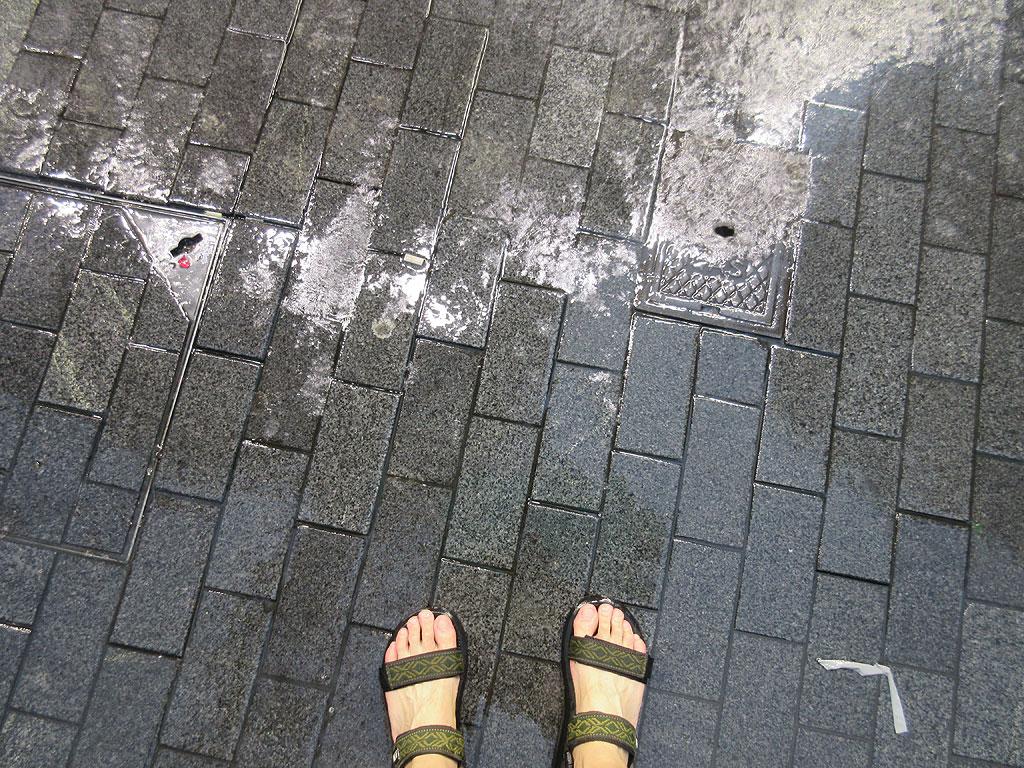 私の足、サンダルを履いてます。