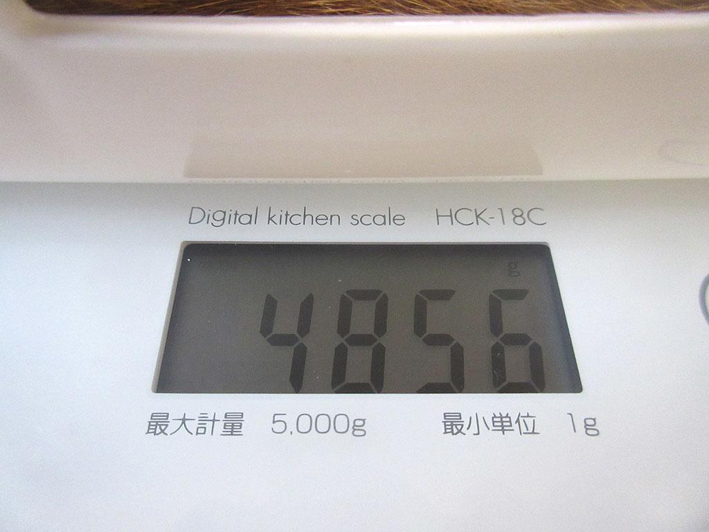 アビのすけの体重は4,856g。