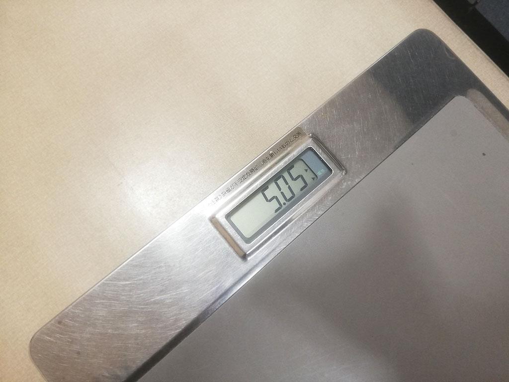 アビのすけの体重は5.05kg。