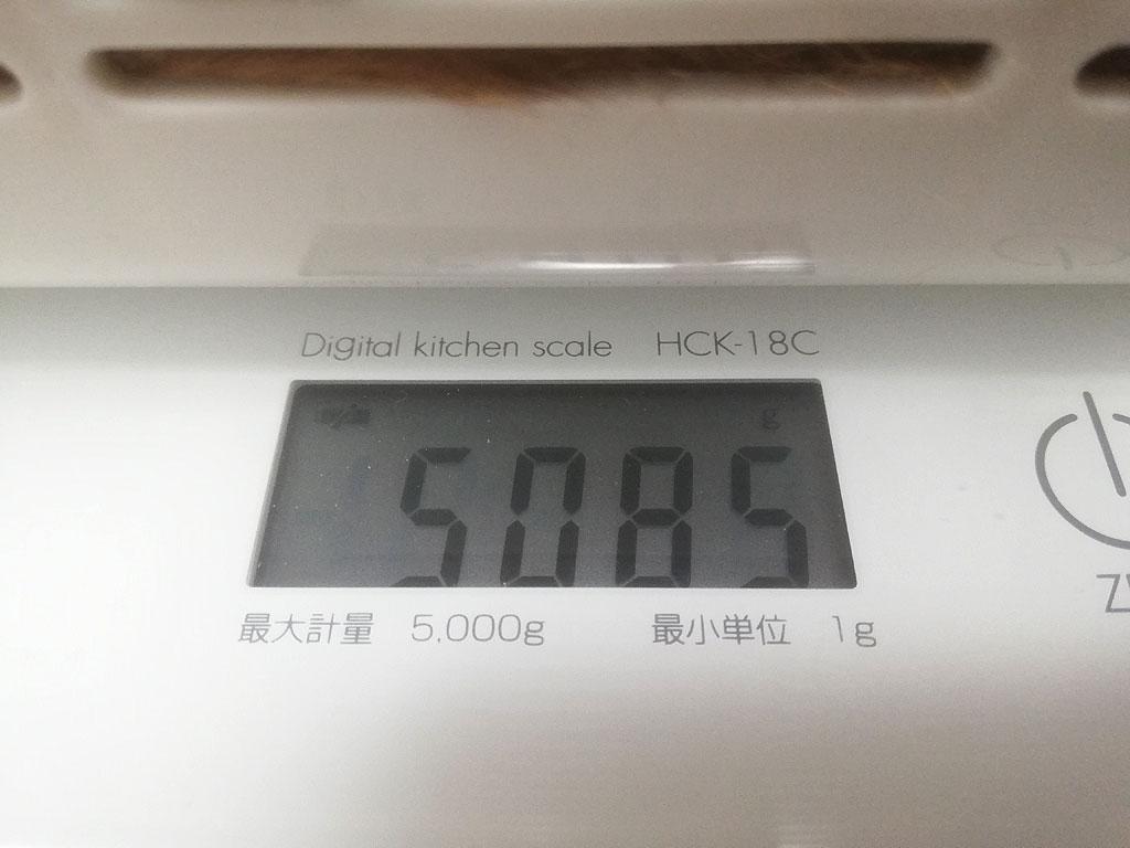 アビのすけの体重は5,085g。